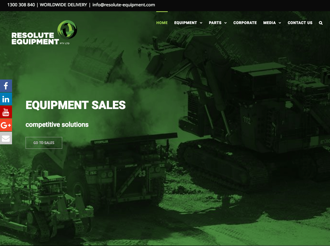 Resolute Equipment Website Development